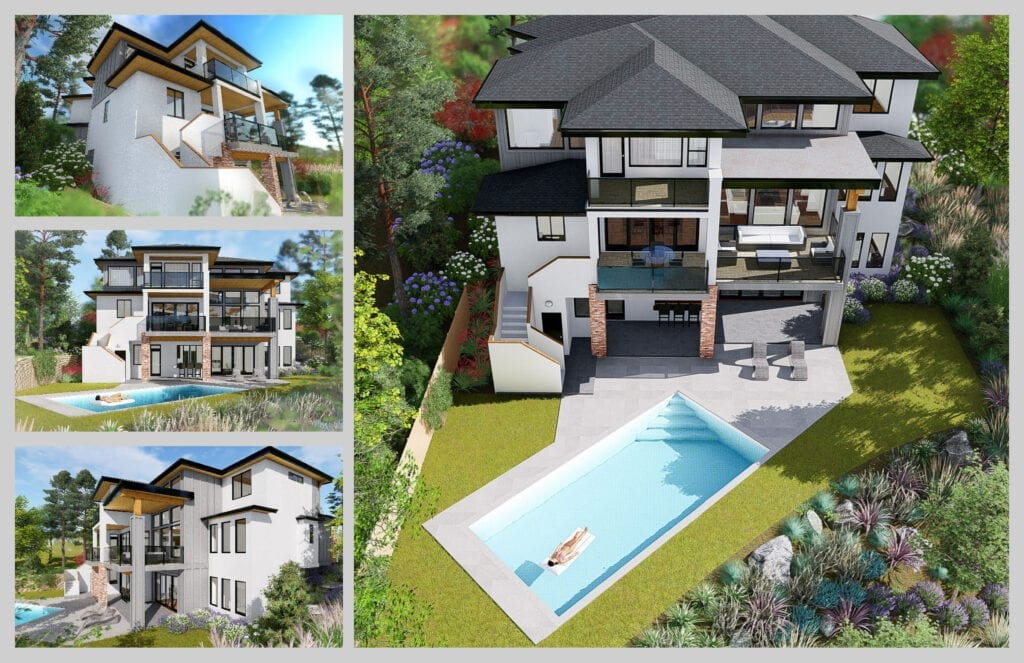 Home rendering for 472 Rockview Lane with 4 different angles, showcasing the large pool and luxury three floor design
