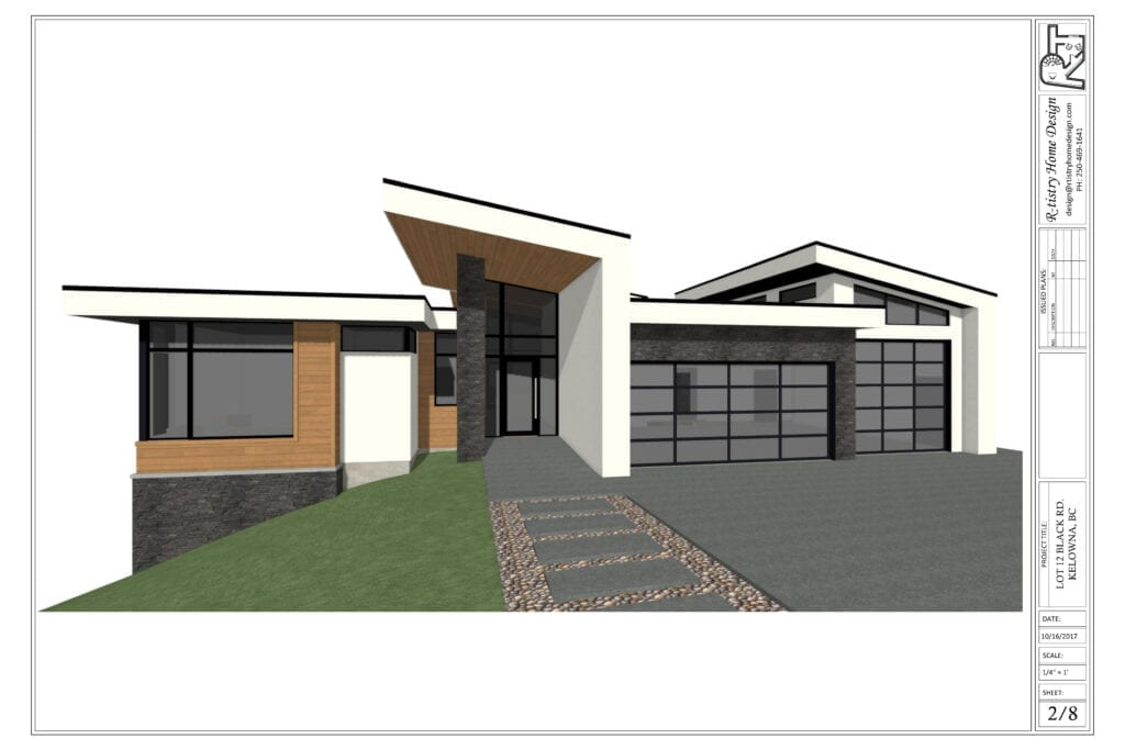 Front entrance rendering for Pinot Noir elevations showcasing glass paneling with grey stone and wooden panelling