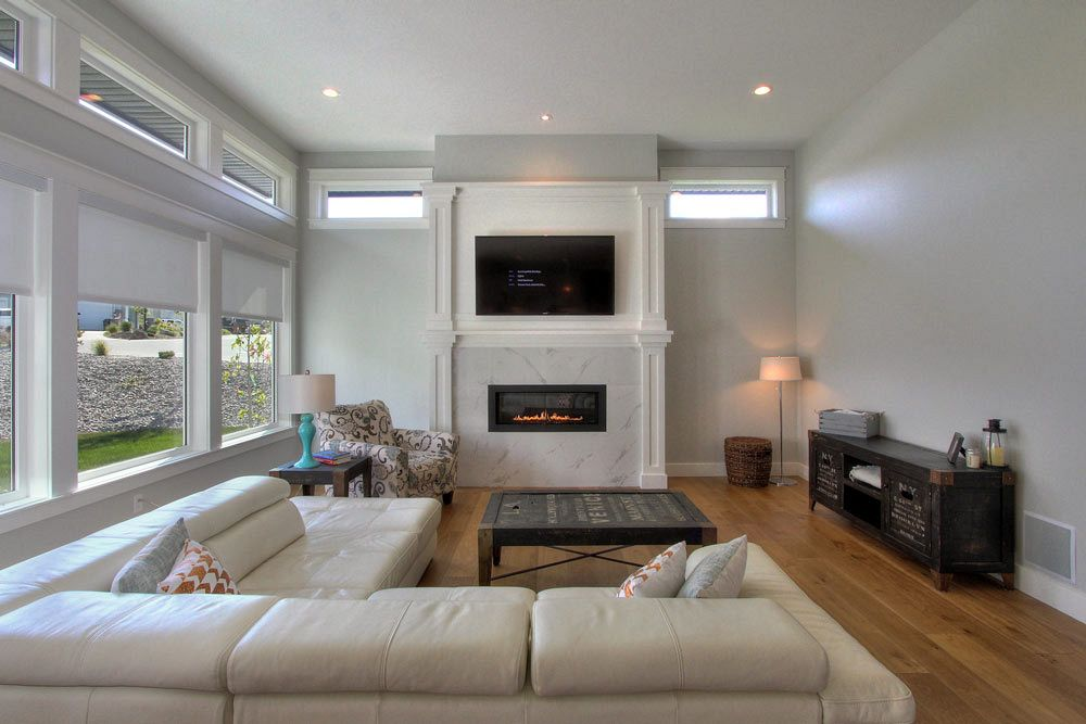 Custom marble fireplace in spacious living area