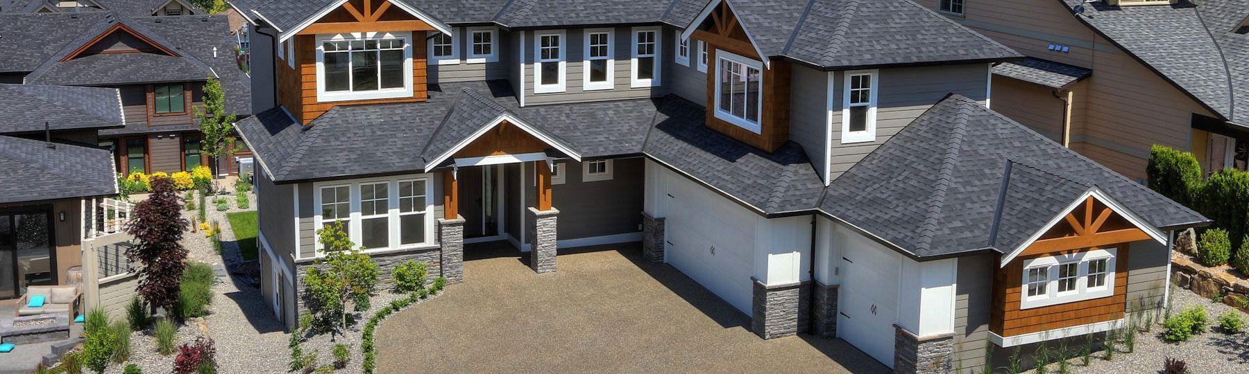 Aerial view of custom home build at 462 Rockview Lane in Kelowna by Stark Homes