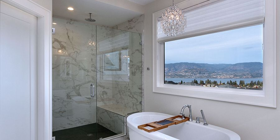 Custom marble shower and bathroom by Stark Homes